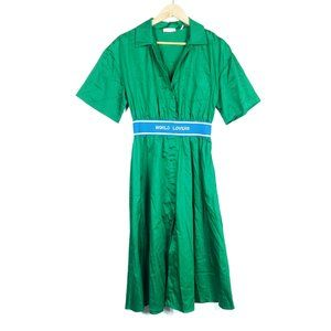 Sandro Paris Green Luxury World Lovers Shirt Dress